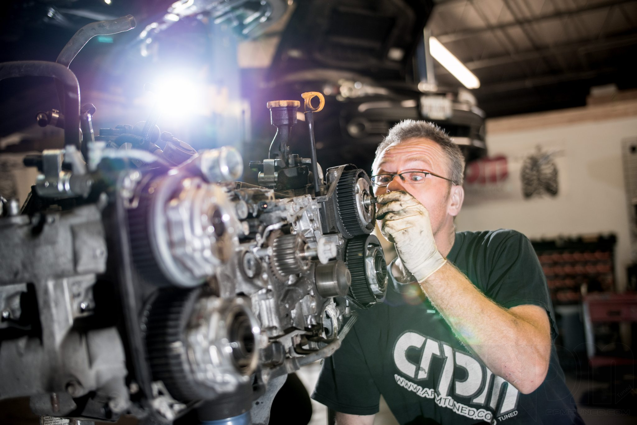 Our master tech disassembling a subaru wrx engine/motor